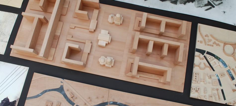 Holzmodelle und Skizzen der ungebauten Stadt