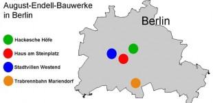 Lageplan der Endell-Bauwerke in Berlin