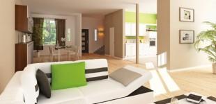 Beispielhafte Visualisierung des lichten Wohn- und Essbereiches eines Hauses im 1. Bauabschnitt