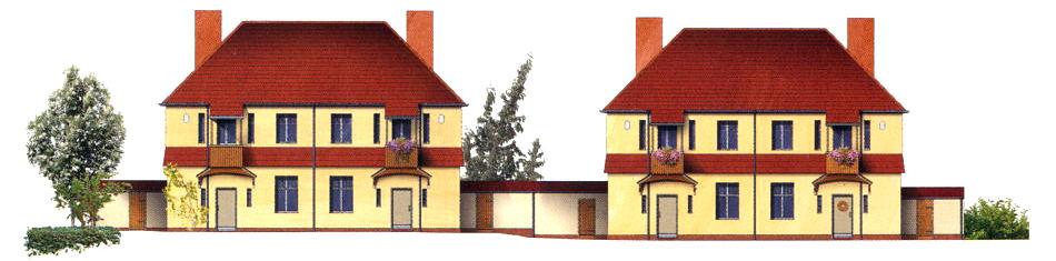 Malerischer Landhausstil: Für die Preussensiedlung von Bel & Clement entworfene Haustypen (Zeichnung: Terraplan, Nürnberg)