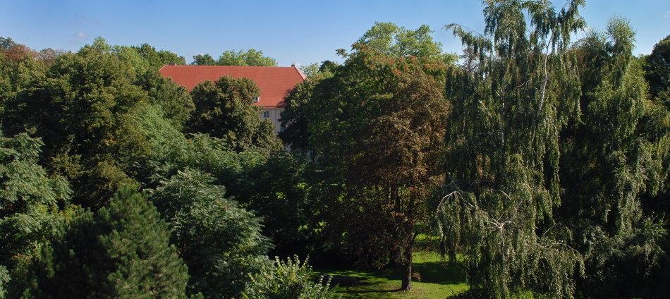 Blick vom 2. OG des ehemaligen Appartementhauses für Gäste der Regierung der DDR in den Blick vom ehemaligen Appartementhaus für Gäste der Regierung der DDR in den Schlosspark und auf das Schloss Schönhausen im Berliner Bezirk Pankow.