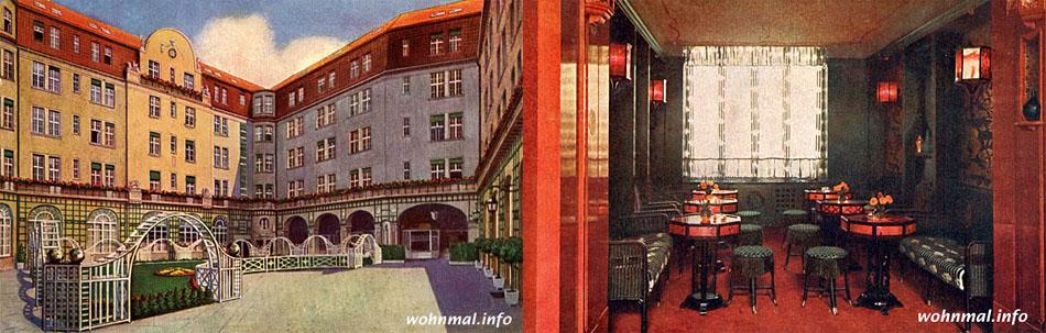 Boarding-Palast: Innenhof und American Bar