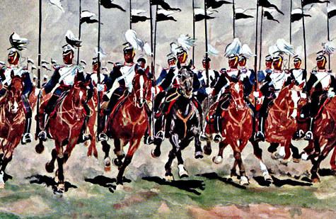 Das 1. Garde-Ulanenregiment beim Parademarsch im Galopp