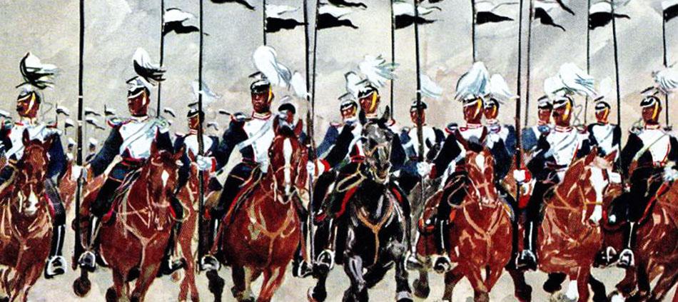 Ulanen-Regiment beim Parademarsch im Galopp. Postkarte um ca. 1900