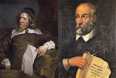 Auf Geheiß Friedrich des Großen musste sich Unger eng an einen Entwurf des englischen Baumeisters Iñigo Jones (oben links) halten. Der wiederum hatte sich von der italinienischen Renaissance-Ikone Andrea Palladio (rechts) inspirieren lassen. Bilder: Wikipedia.