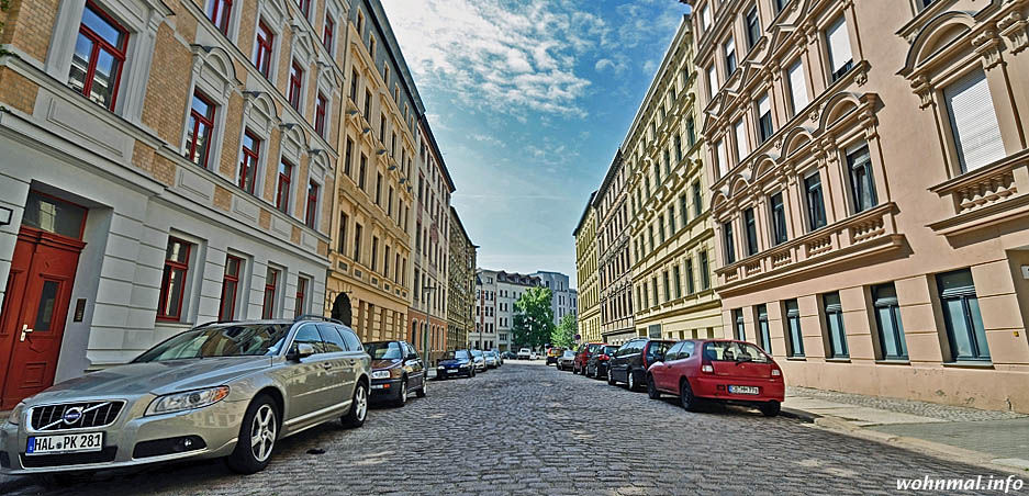 Sanierte Gründerzeitfassaden im Hallenser Paulusviertel