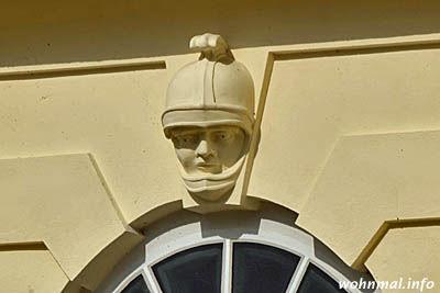 Soldatenkopf über Torbogen der Hiller-Brandtschen Häuser