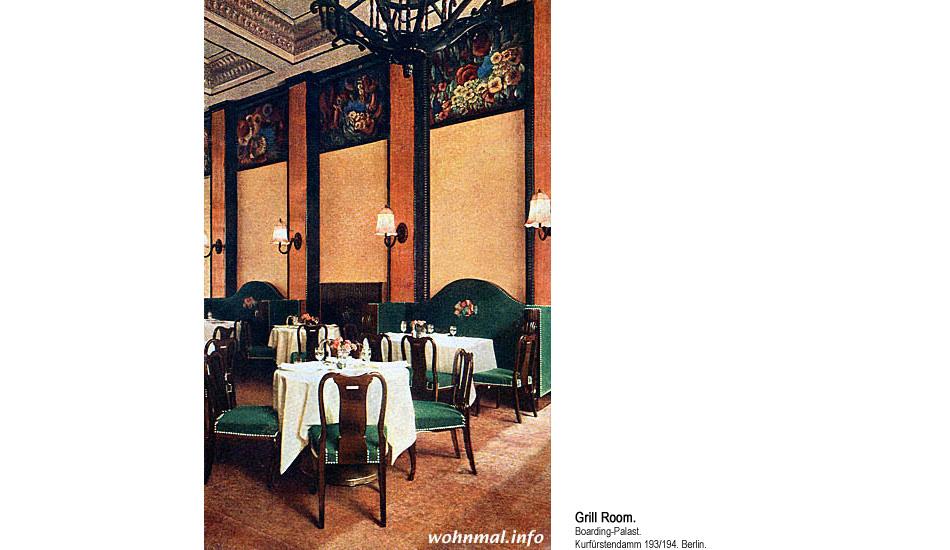 Grill-Room im Boarding-Palast Berlin. 1913