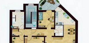 Grundriss Dachgeschoss-Wohnung