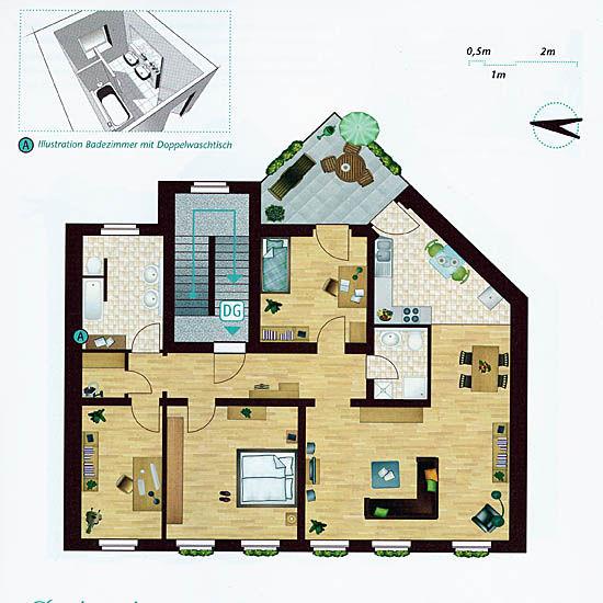 123 quadratmeter wohnfl che aufgeteilt in drei schlafzimmer gro z giges wohn und esszimmer. Black Bedroom Furniture Sets. Home Design Ideas