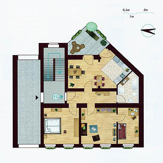 Grundriss Hochparterre-Wohnung