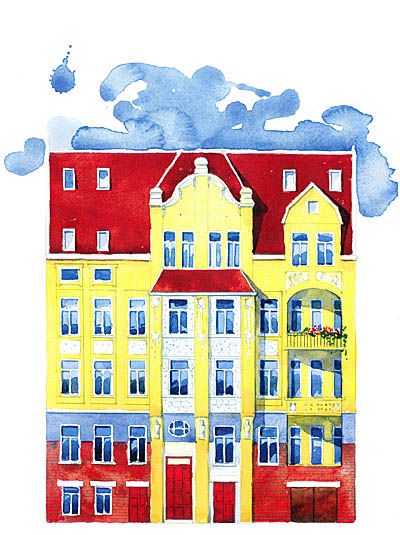 """Das Aquarell vermittelt einen guten Eindruck von der prächtige Jugendstilfassade des """"Pretiosa"""" nach der Restaurierung. Wobei die Farbgebung, die in in enger Abstimmung mit der Denkmalschutzbehörde erfolgt, wohl ein bißchen weniger intensiv sein wird. Quelle: ISI"""