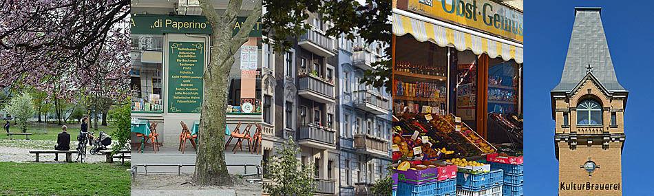 Die grüne Oase des Falkplatzes - Italo-Restauraunt, Gründerzeitfassaden und ein Geschäft mit Gesundem in der Gleimstraße - Der schlanke Turm der Kulturbrauerei