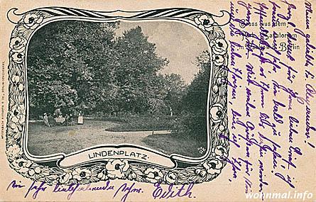 Gruss aus dem Park-Sanatorium in Pankow: der auf der von einem Patienten geschriebenen Lindenplatz war einer der beliebtesten Ecken des zum Haus gehörenden Parks. Foto: Archiv Sven Hoch