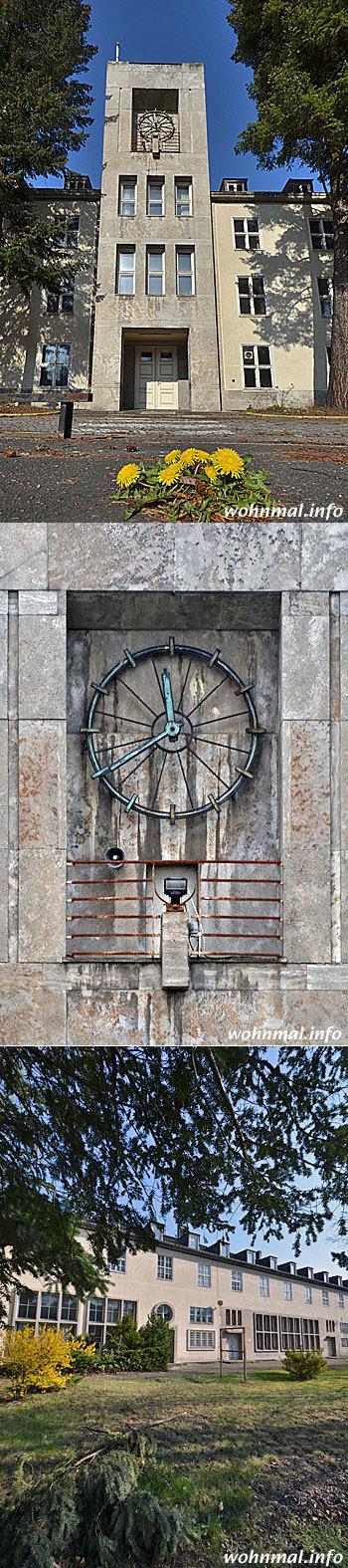 """Der zentrale Uhrenturm von Haus 4  (""""The Times Tower"""", oben und mitte) und die Südfassade von Haus 5 (""""The Gallery"""", unten) am Appellplatz des ehemaligen Hauptquartiers der US-Army in Dahlem. Fotos: Sven Hoch"""