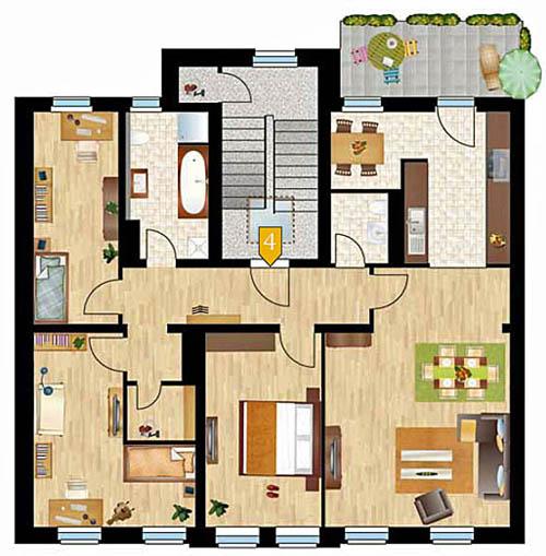 Streiberhöfe: Grundriss der Wohnung im 4. OG der Streiberstrasse 21. (ISI)
