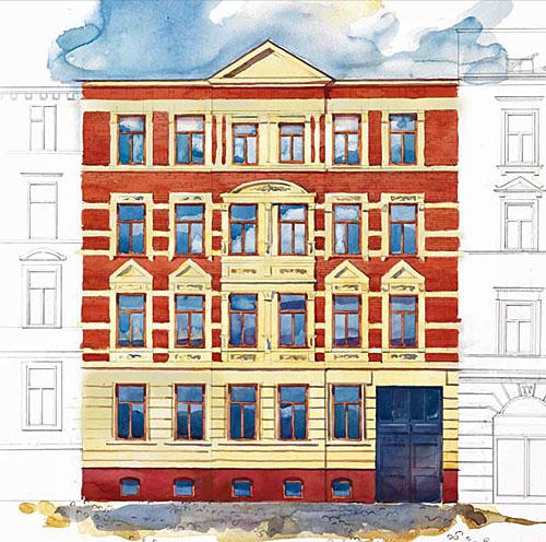Streiberhöfe: Visualisierung der Fassade (Streiberstraße 21) nach der Sanierung