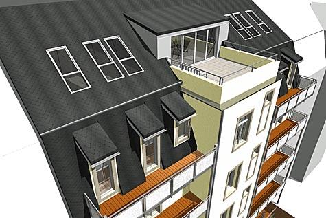 Lebensqualität: Sonnige Balkone und Dachterrasse mit herrlichem Ausblick. Bild: mph