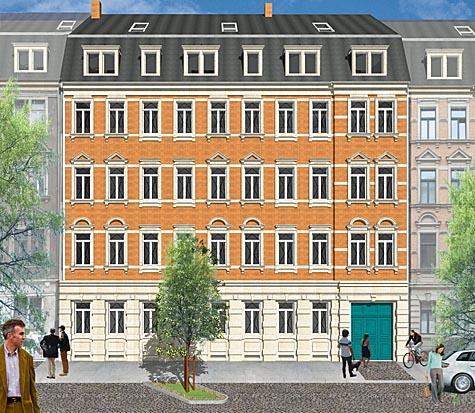 Gründerzeit-Flair: Fassadenansicht des Wohnhauses in der Gambrinusstraße. Bild: mph