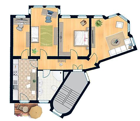 """Raum zum Leben: Grundriss einer 112 Quadratmeter großen Wohnung im 2. OG der """"Villa Löwengold"""". Zeichnung: ISI"""