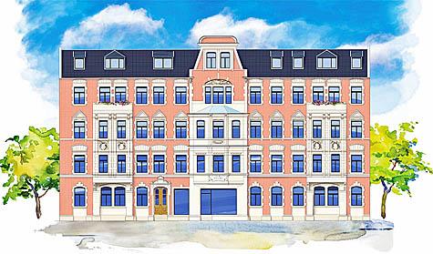 """Majestätisch: nach der Sanierung wird die Fassade der """"Villa Löwengold"""" wieder zum markanten Blickfang im Paulusviertel. Visualisierung: ISI"""