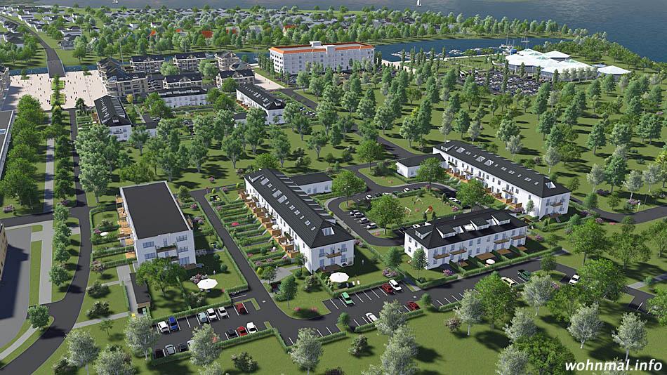 Die Wohnungen in den sanierten Fliegerheimen sind integraler Bestandteil des Gesamtkonzepts für die Havelauen. Der neue Stadtteil Werders besticht durch viel Grün und die direkt Uferlage am Großen Zernsee. Visualisierung: PRV