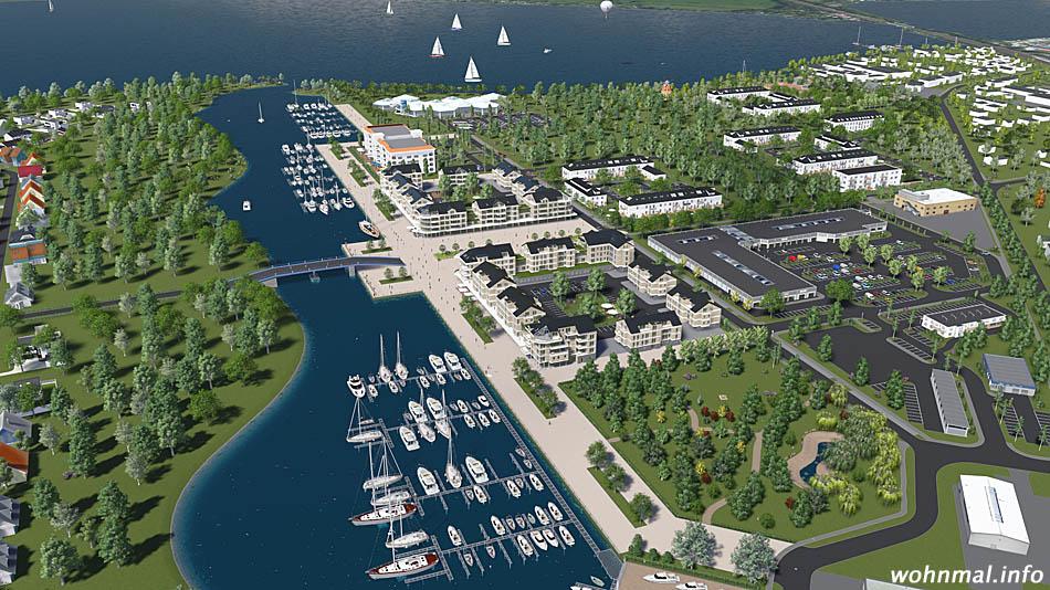 Schon bald wird in den Havelauen ein völlig neuer Stadtteil entstanden sein, wie dieser vorweggenommene Blick aus der Vogelperspektive auf Marina und Promenade beweist. Visualisierung: PRV