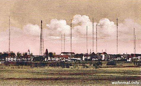 Panoramaansicht der Sendeanlagen auf dem Funkerberg, ca. 1930. Abb.: Archiv Wohnmal.info