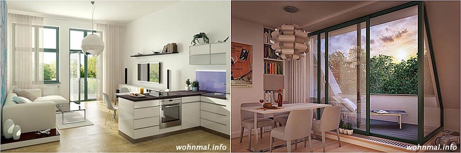 Große Fenster, die viel Tageslicht in die Wohnungen lassen sowie die elegante Verbindung zentraler Lebensbereiche sind typisch für die neuen Wohnungen im Haupthaus des Funkerbergs. Visualisierungen: Terraplan