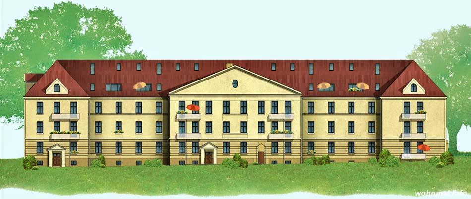 Ansicht des Haupthauses (ehemaliges Offiziers- und Mannschaftsquartier) nach der Sanierung. Visualisierung: Terraplan
