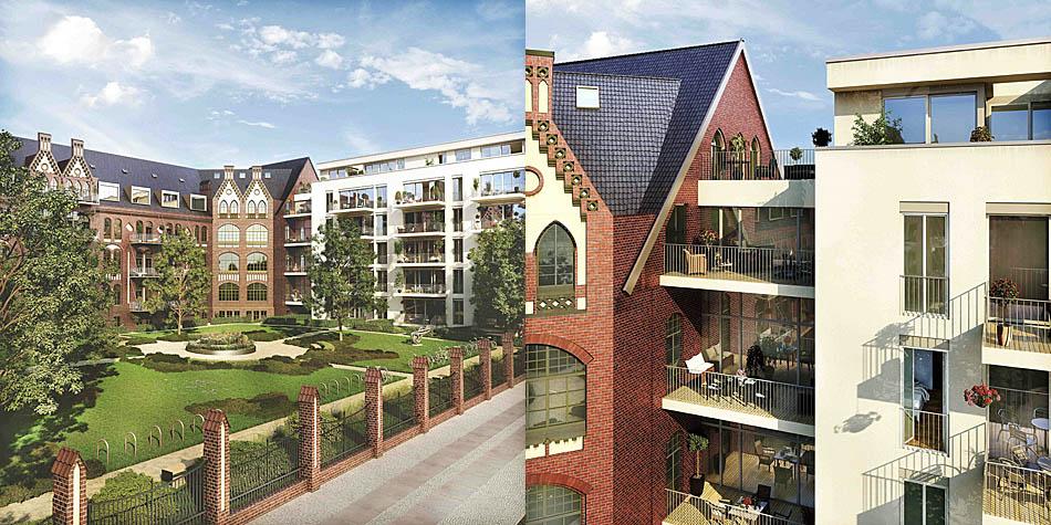 Der neu errichtete Ostflügel komplettiert das Ensemble am Heubnerweg. Die moderne Architektur und die helle Fassade bilden einen deutlichen und doch ansehnlichen Kontrast zum 1900 errichteten alten Gebäudeteil.  Bild: Home Center Management