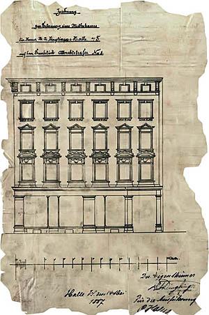 """Zeichnung zur baupolizeilichen Abnahme der """"Dinglinger Höfe"""" von 1887."""