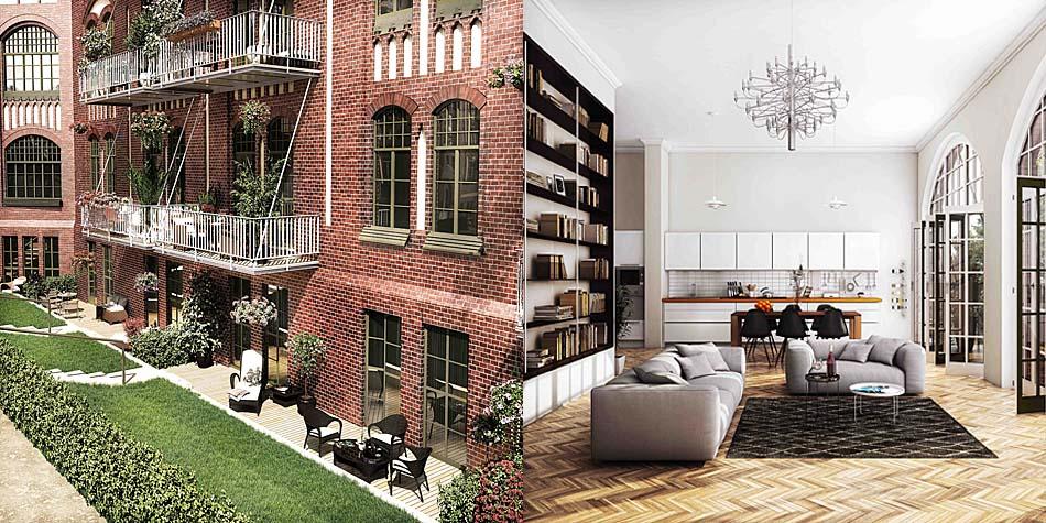 Wohnen im historischen Bürgerspital: Das Mauerwerk, große Fenster und  bis zu vier Meter hohen Räume schaffen ein ganz besonderes Ambiente. Bild: Home Center Management