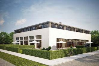 Blick von Süden: Die quadratische Form und die charakteristischen Fensterbänder heben die geradlinige Architektur des Gebäudes besonders hervor. Visualisierung: PvP/Terraplan