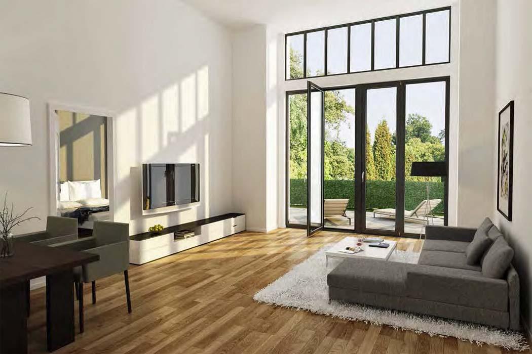 Im Erdgeschoss sorgt eine Deckenhöhe von knapp vier Metern in allen Apartments für ein ausgesprochen großzügiges Wohnerlebnis. Visualisierung: PvP/Terraplan