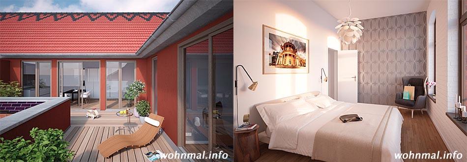 Auf der Dachterrasse einer Penthouse-Wohnung lässt sich die Sonne ungestört genießen (Abb. links). Auch das Schlafzimmer dieses Drei-Zimmer-Apartments im 1. Obergeschoss ist hell und luftig (Abb. rechts). Abbildungen: Terraplan