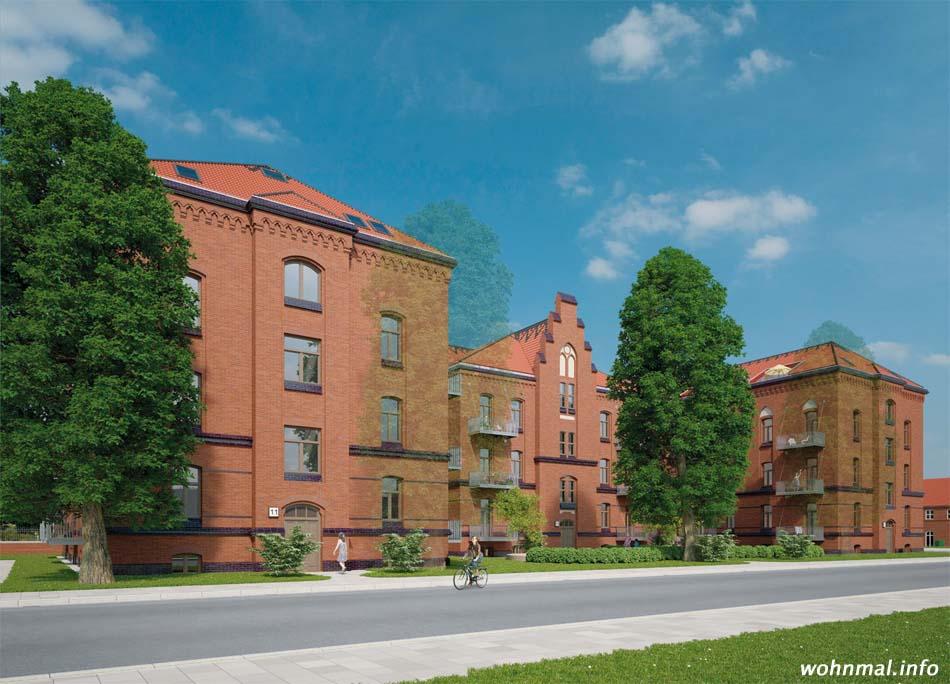 """Ostfassade des """"Klingelhoefferschen Backstein-Palais"""" nach der Sanierung. Visualisierung: Terraplan"""