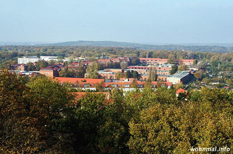 """Panoramablick über das gesamte, in ein herbstliches Laubmeer eingebettete Areal der """"Roten Kaserne"""" vom Ostturm des Belvedere auf dem Pfingstberg. Aufnahme vom Oktober 2014. Foto: Sven Hoch"""