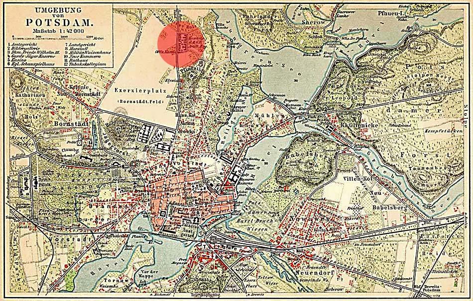 """Stadtplan von Potsdam um 1900 - Der rote Kreis markiert die Lage der """"Roten Kaserne"""". in Nedlitz. Quelle: Wikipedia"""