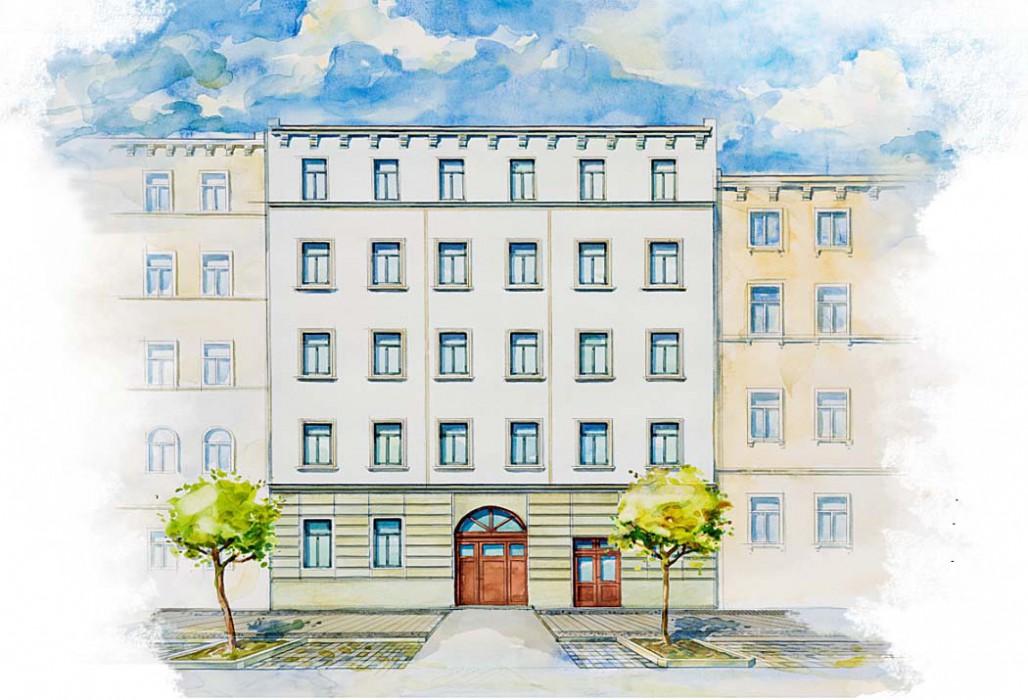 Straßenansicht des Lowitzsch-Ensembles: Die Fassade des Vorderhauses wird sorgfältig aufgearbeitet und wiederhergestellt. Visualisierung: ISI