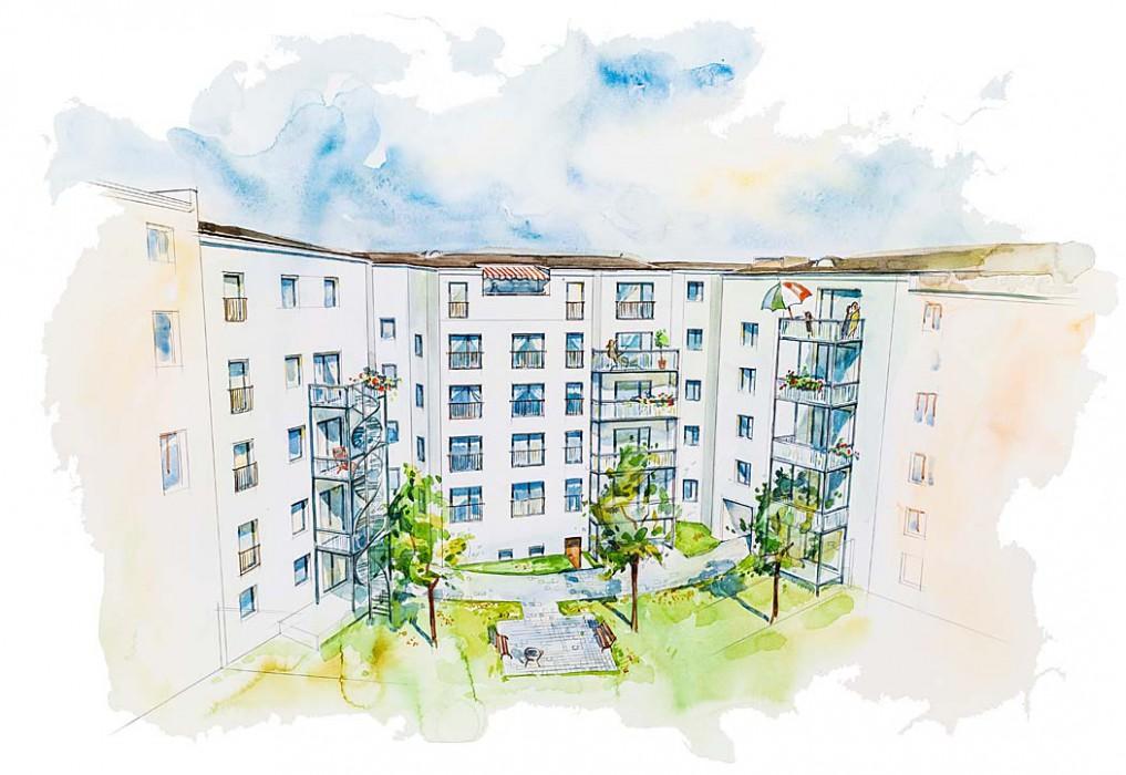 Der Hofbereich wird als Gemeinschaftsgarten gestaltet, der allen Bewohnern offen steht. Visualisierung: ISI