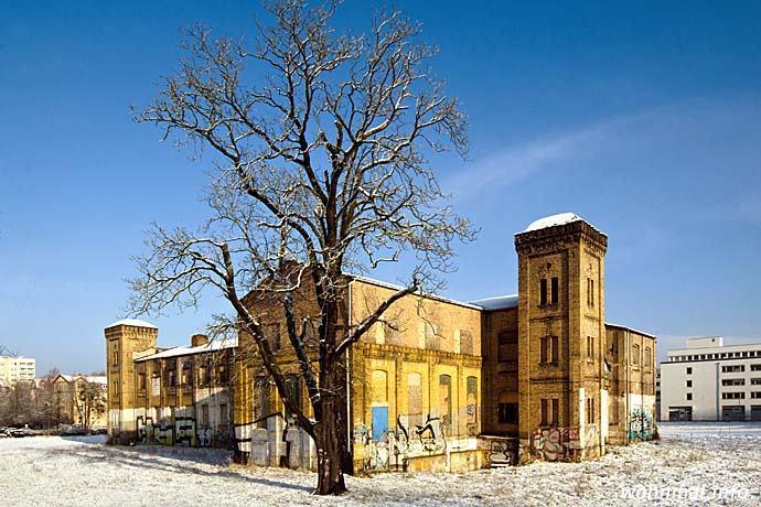 Obwohl der Zahn der Zeit arg an der im historistischen Stil gehaltenen Fassade genagt hat, wirkt das Hauptgebäude der einstigen Spinnerei auf den ersten Blick noch immer burg- bzw. palastartig. Foto: Sven Hoch