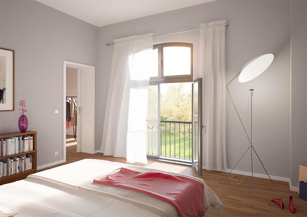 Die bis zu 3,8 Meter hohe Segmentbogenfenster  sorgten einst für genügend Tageslicht in den Produktionshallen der Jutespinnerei. Jetzt bringen sie Sonne und Licht in Hülle und Fülle in die Räume der Apartments. Visualisierung: Terraplan