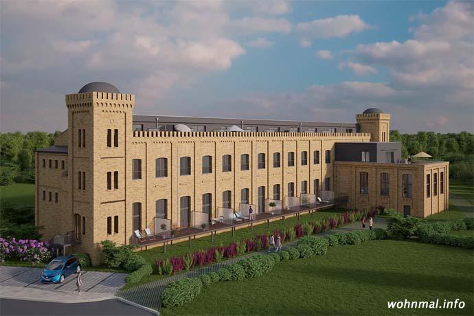 Wohnen im Fabrikpalast: Die ehemalige Baumwoll- und Jutespinnerei nach der Sanierung. Visualisierung: Terraplan
