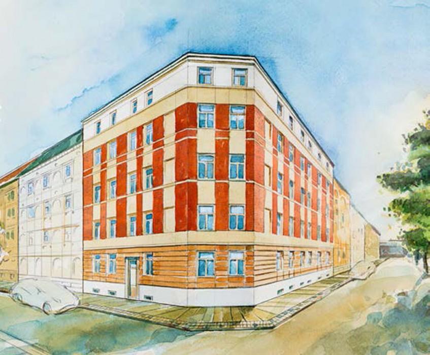In den beiden Geschwisterhäusern des Osendorfer Tors entstehen jeweils 10 Wohnungen. Das Haus Bruckdorfer Straße 8 bildet den Südteil des Ensembles. Visualisierung: ISI Home