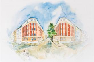 Entrée zum Riebeckviertel: das Osendorfer Tor an der Ecke Bruckdorfer / Osendorfer Straße. Visualisierung: ISI Home