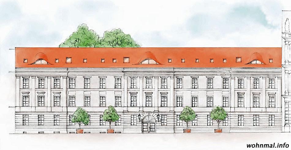 Die Darstellung der Straßenfassade des Gontard-Palais nach der Sanierung zeigt die derzeit nur schwer zu erfassende Fassade in ihrer ganzen Pracht. Deutlich zeichnen sich Mittel- und Seitenrisalite sowie die strukturierenden Pilaster ab. Die drei Fledermausgauben werden im Zuge der Bauarbeiten wieder errichtet. Visualisierung: Terraplan